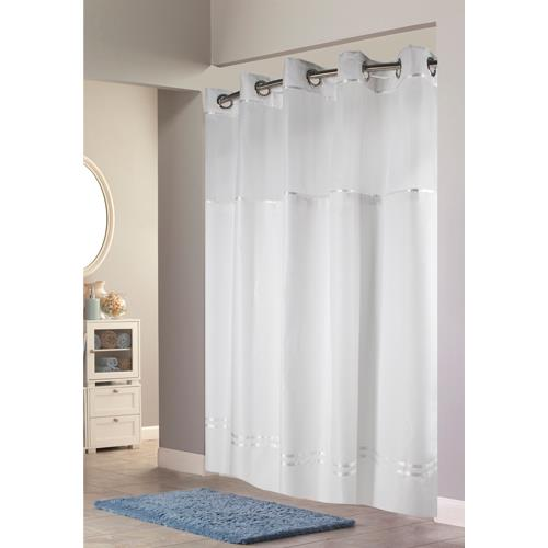 Avm Enterprises Inc Escape Hookless Fabric Shower Curtain With Chrome Rings And Snap In Liner