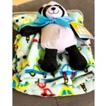 Blue Car Print Blanket with Panda