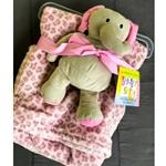 Pink Lepord Print Blanket with Elephant