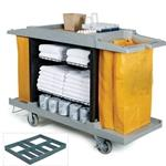 Deluxe Full Size Maids Cart w/ Vinyl Bag Bumpers